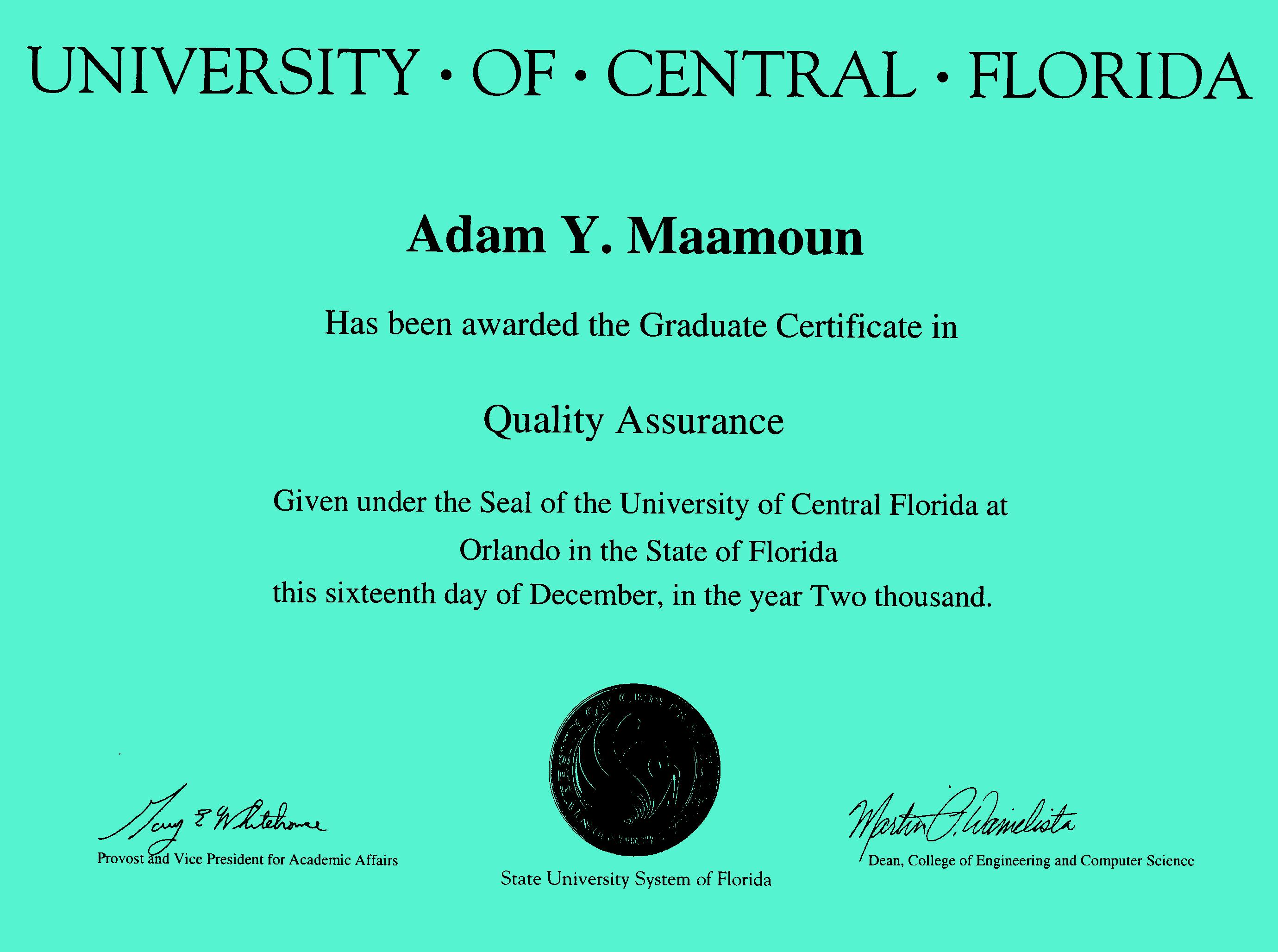 Dram Maamoun Official Ucf Doctorate And Masters Diploma And